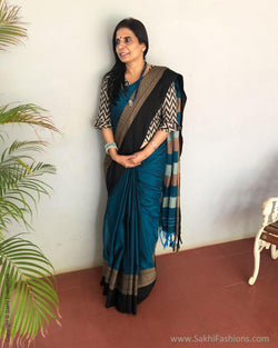 EE-S12804 - Blue pure Cotton saree