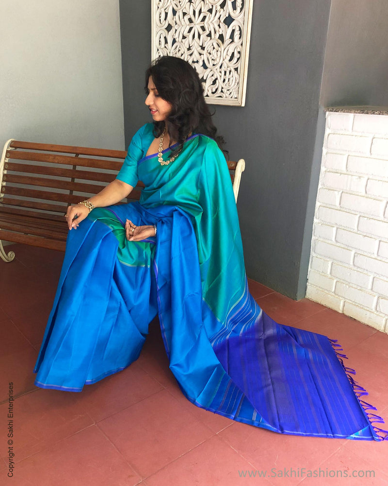 EE-S12920 - Blue & green pure Kanchivaram silk saree