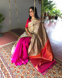 EE-S12996 - Beige & Pink Pure Kanchivaram Silk Saree