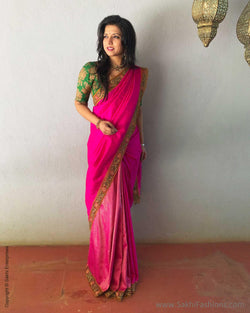 EE-S14304 - Pink &  Pure Kanchivaram Silk  Saree