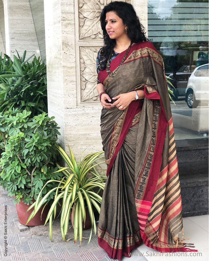 EE-S14703 - Grey Cotton saree