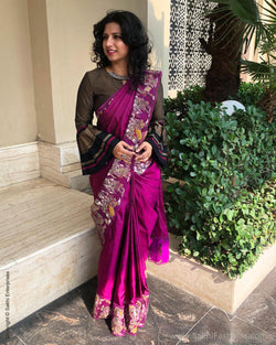 EE-S14893 - Purple  pure Kanchivaram silk saree