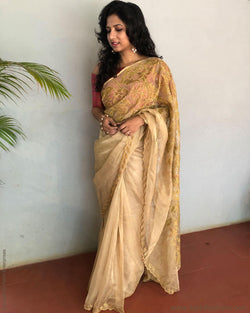 EE-S15216 - Gold pure Tissue silk saree
