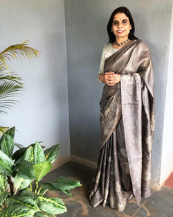 EE-S16344 - Grey Pure Tussar silk saree