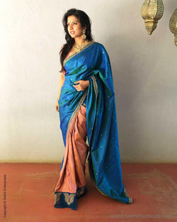 EE-S16710 - Blue &  Pure Kanchivaram Silk  Saree