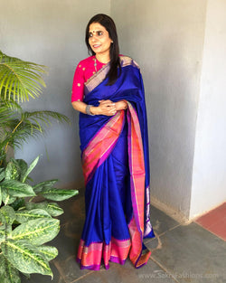 EE-S17658 - Blue Tussar silk saree