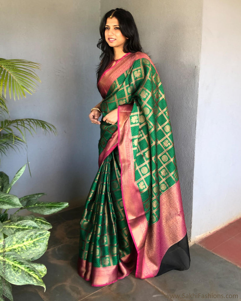 EE-S18075 - Green & Pink Banarsi Silk Saree