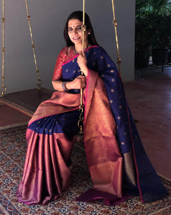 EE-S18077 BluePink Banarsi Saree