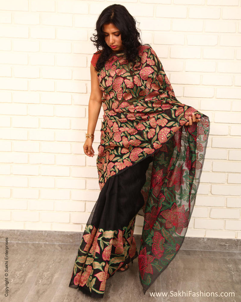 EEP-22331 - Black & Pink Pure Organza Silk Saree