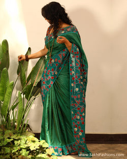 EEP-22992 - Green & Multi Pure Tussar Silk Saree