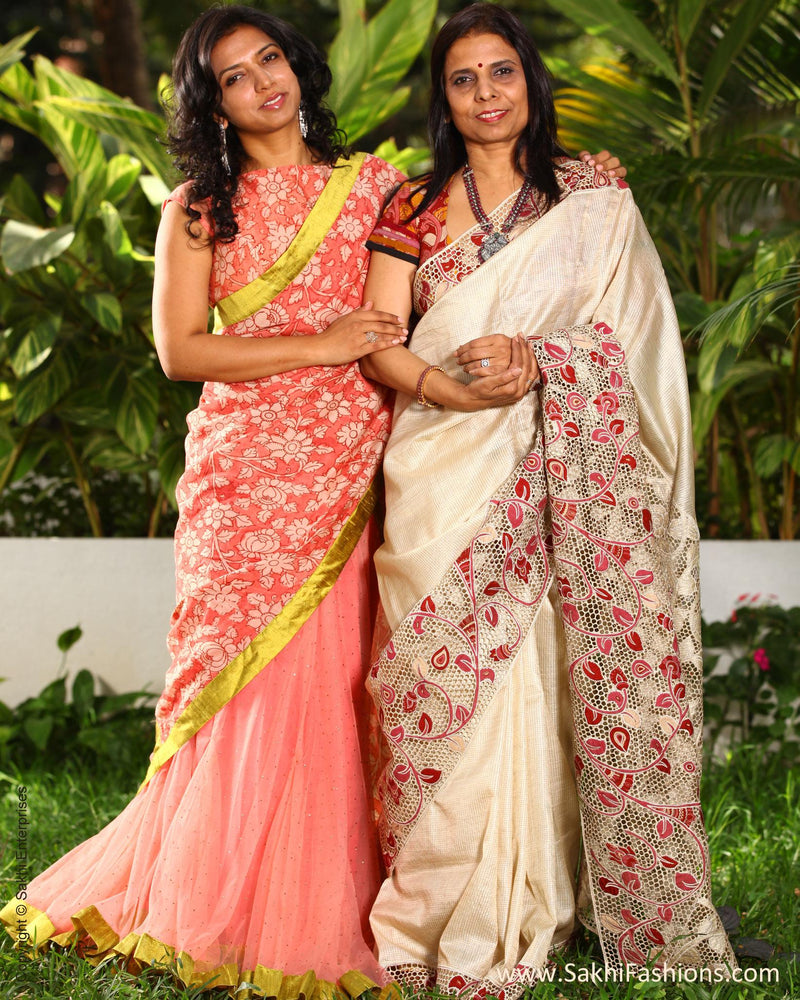 EEP-L10G - Cream & Pink Pure Silk Saree