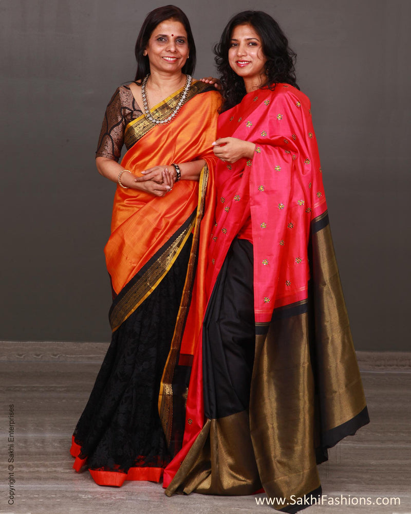 EEP-L7G - Orange & Pink Pure Kanchi Silk Saree