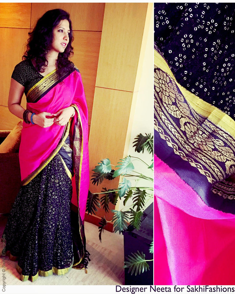 EEQ-10845 - Pink & Black Pure Kanchivaram Silk Saree
