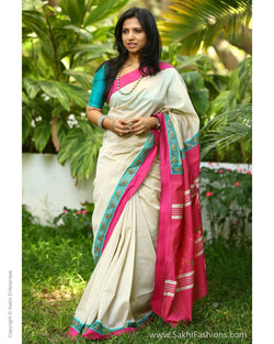 EEQ-1388 - Cream & Pink Pure Cotton Saree