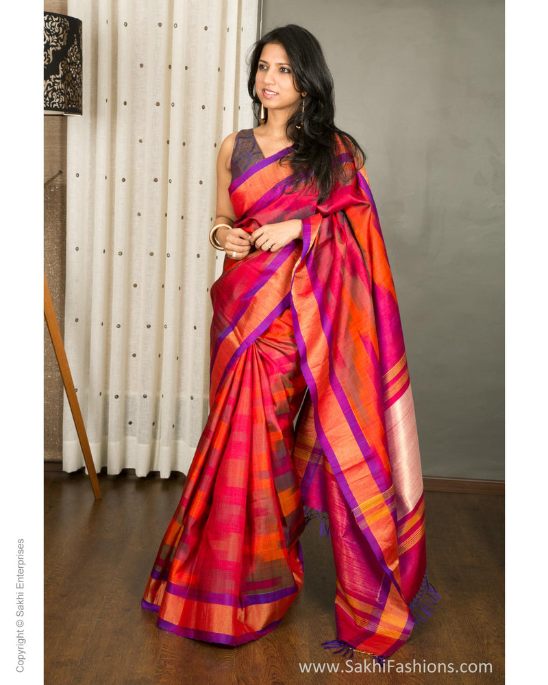 EEQ-1698 - Red & multi pure Silk saree