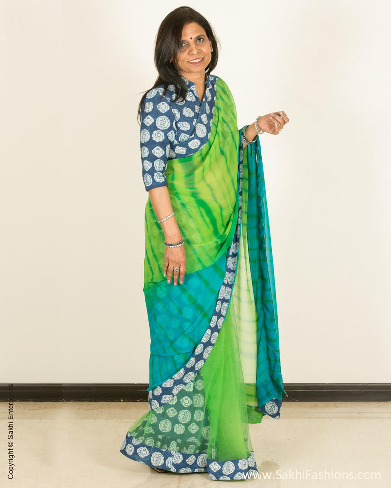 EEQ-4295 - Green & Blue Faux Georgette Saree