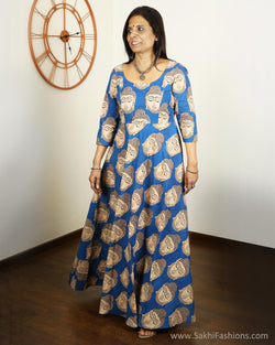 EEQ-4797 - Blue & Beige Pure Cotton Kurtha