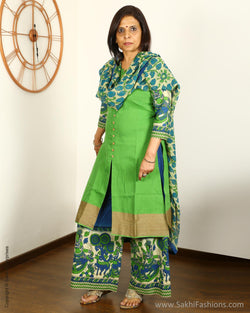 EEQ-6451 - Green & Blue Pure Cotton Chudidhar Set
