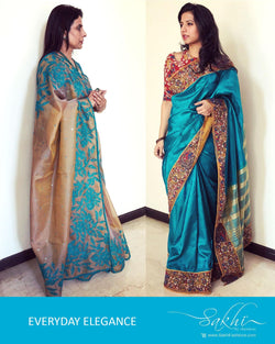 EER-1335 - Mustard & Blue Pure Organza Silk Saree