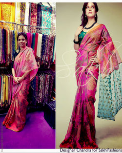 SR-0136 Peach & green Organza silk saree