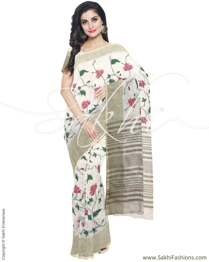 IMR-23324 - Cream &  Pure Linen Saree