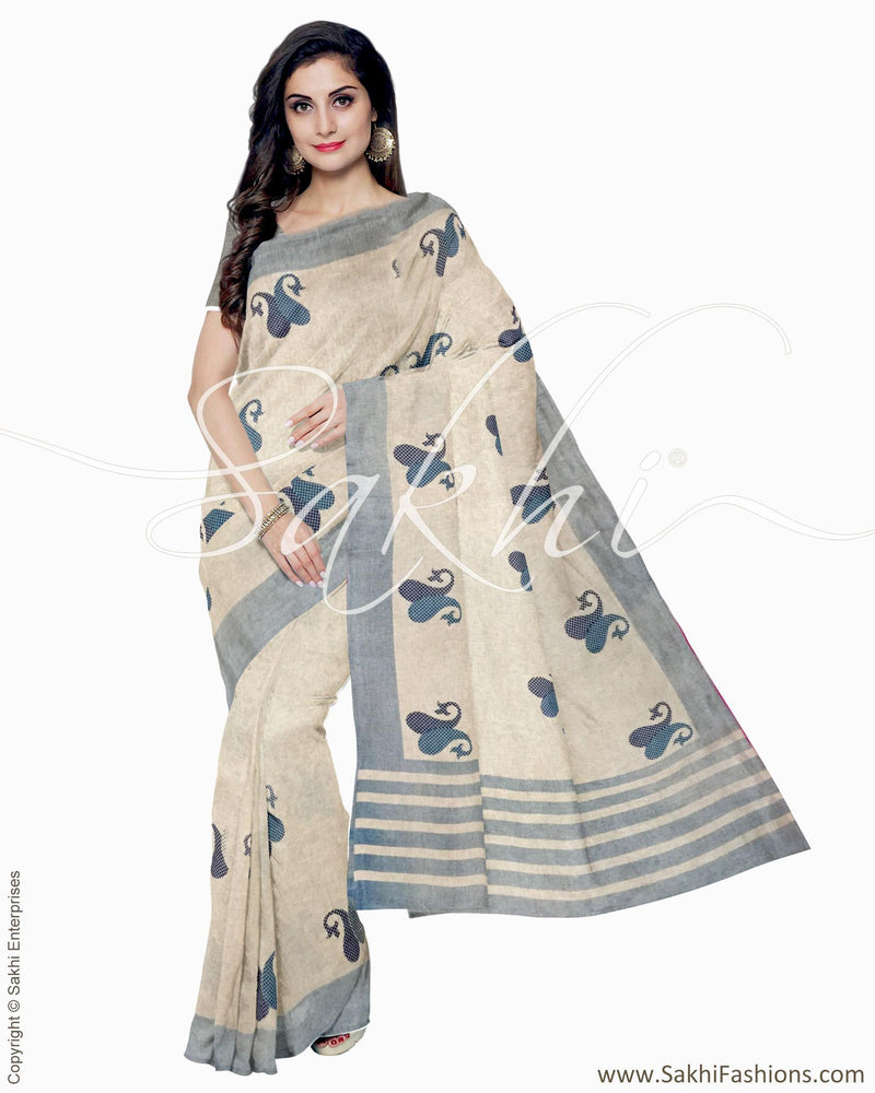 IMR-2377 - Beige & Blue Blended Tussar Saree