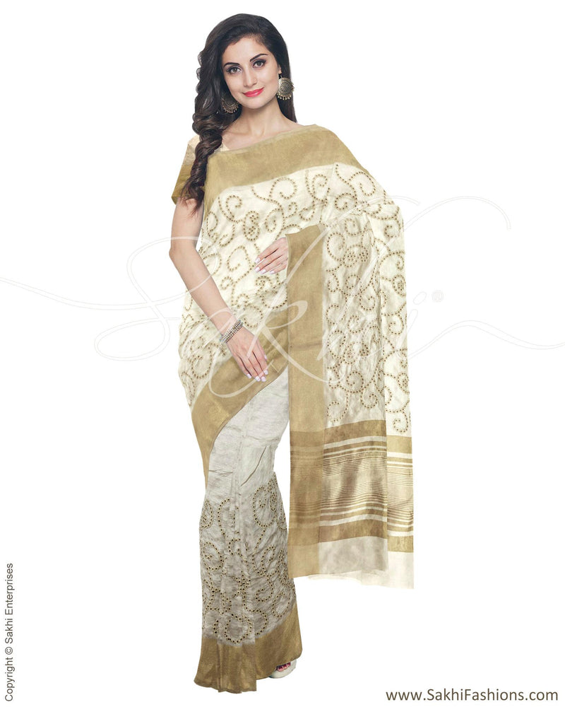 IMR-4373 - Beige & Gold Blended Tussar Saree