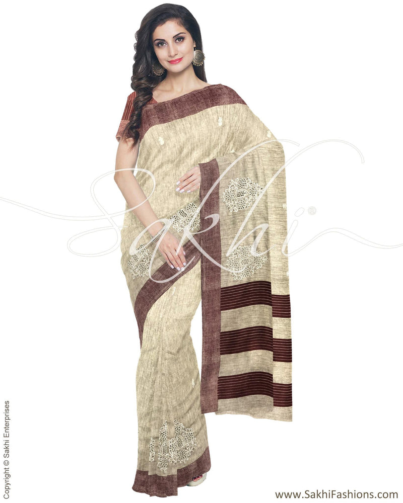 IMR-9919 - Beige &  Blended Tussar Saree