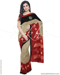 IMR-9942 - Brown &  Blended Tussar Saree