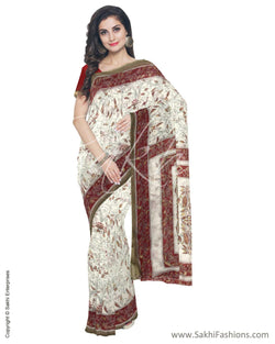 IMS-13028 - Beige &  Faux Linen Saree