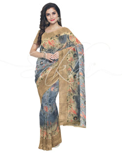 IMS-13241 - Blue &  Faux Linen Saree