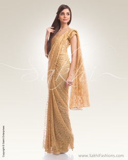 IS-0001 Beige french Lace saree