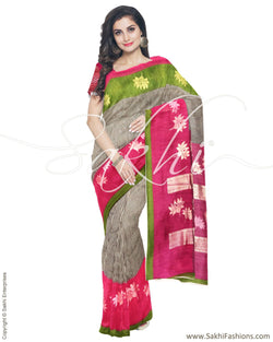 ISRO-14085 - White & Pink Blended Tussar Saree