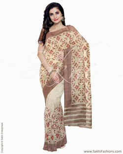 ITR-1248 - Beige & Red Blended Tussar Saree