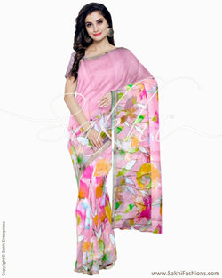 ITR-1273 - Pink & Multi Blended Tussar Saree