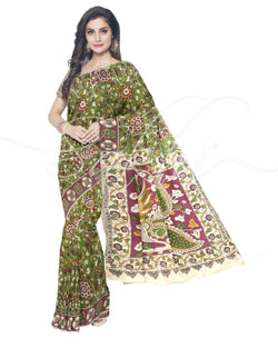 ITS-14751 - Green & Pink Pure Silk Saree