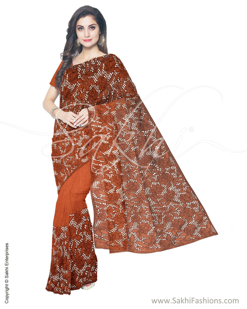 ITS-18800 - Copper &  Faux Tussar Saree