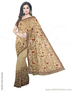 ITS-18820 - Brown &  Faux Tussar Saree