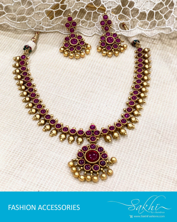 AJDS-22933 - Gold & Pink Mix Metal Necklace & Earring