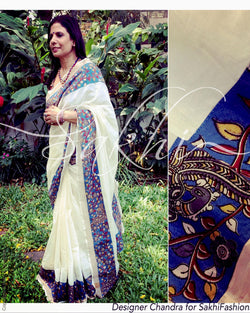 EDPQ-7730 - Cream & Blue Pure Cotton Saree