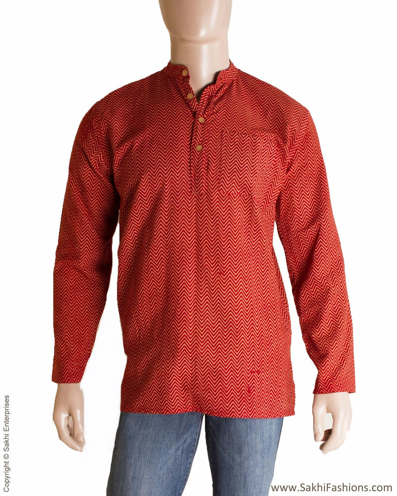 MRR-0714 - Maroon & Beige Pure Cotton Shirt