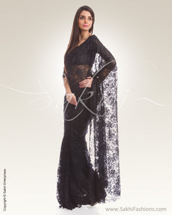 SR-0472 Black French Lace Saree