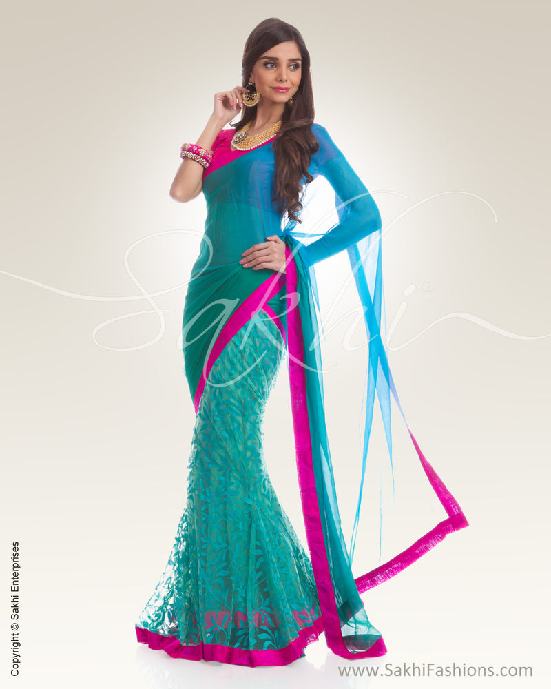 PG3-0003 Blue & Green Chiffon Saree