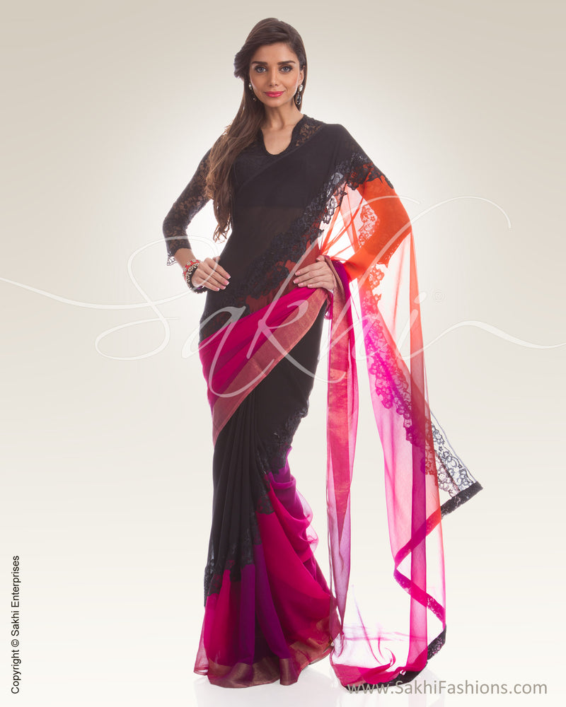 PG3-0007 Black & Multi Colour Chiffon Saree