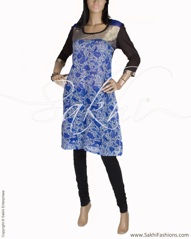 RTO-27405 - Blue & Black Pure Cotton Top