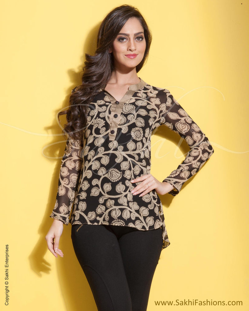 RTP-0838 - Black & Beige Faux Georgette Top