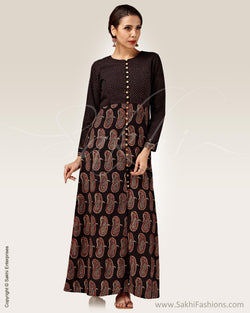 RTP-9084 - Black & Beige Pure Cotton Kurtha