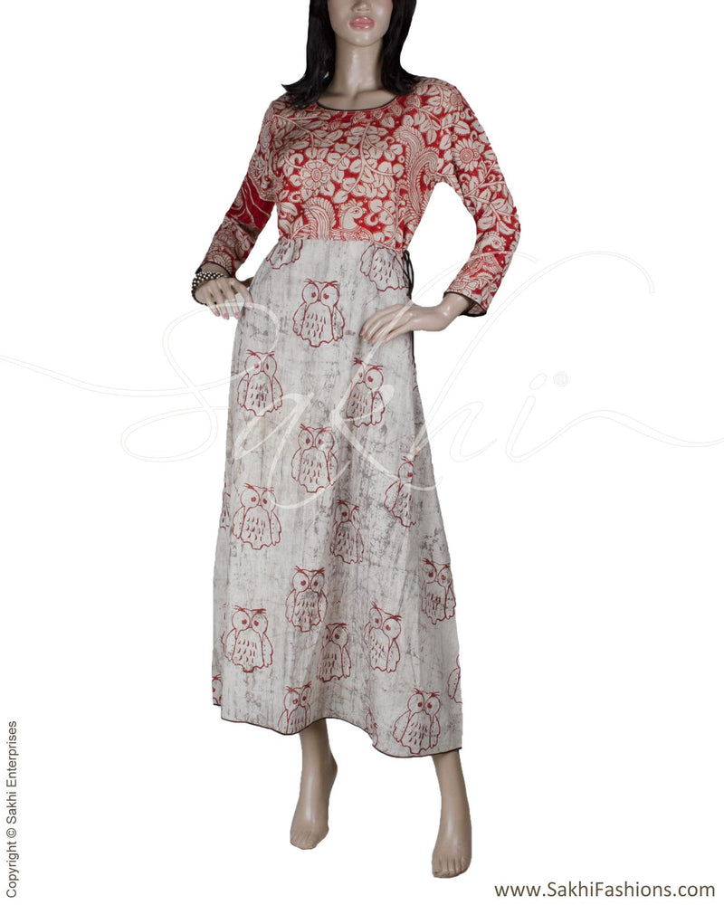 RTQ-12364 - Maroon & Beige Cotton & Silk Dress
