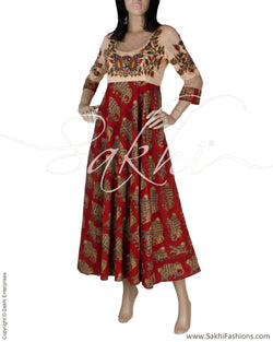RTQ-12456 - Maroon & Multi Pure Cotton Dress