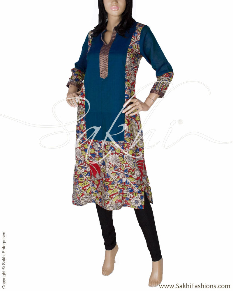 RTQ-15661 - Blue & Gold Silk & Cotton Kurtha